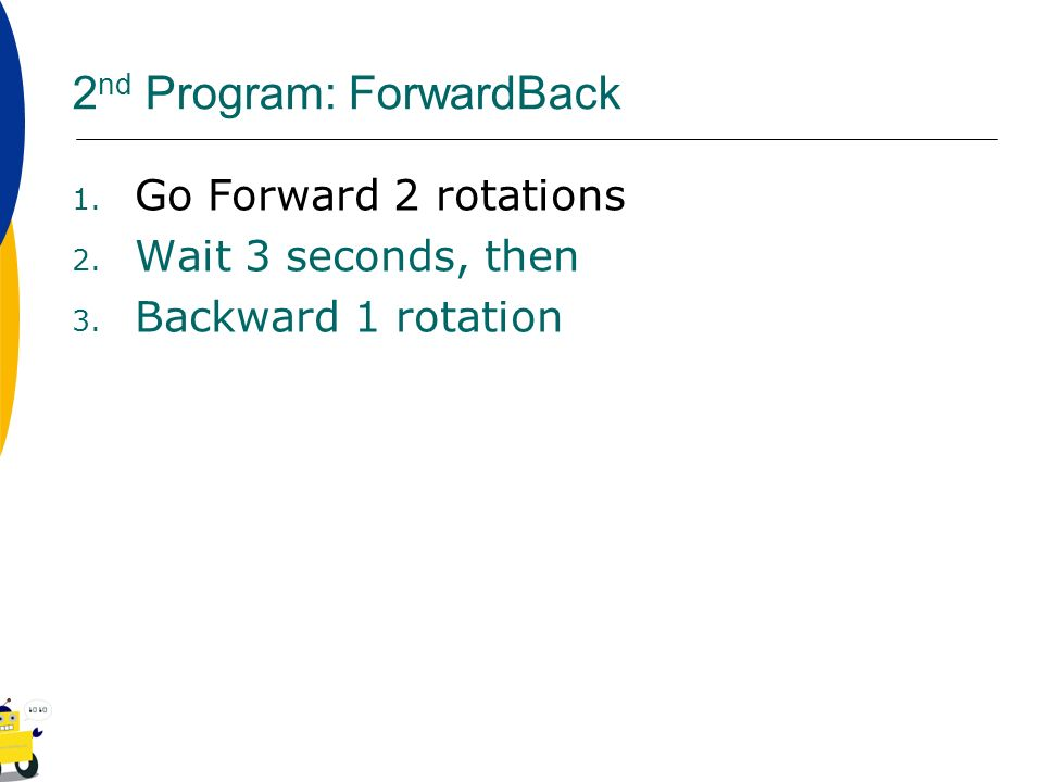 2nd Program: ForwardBack