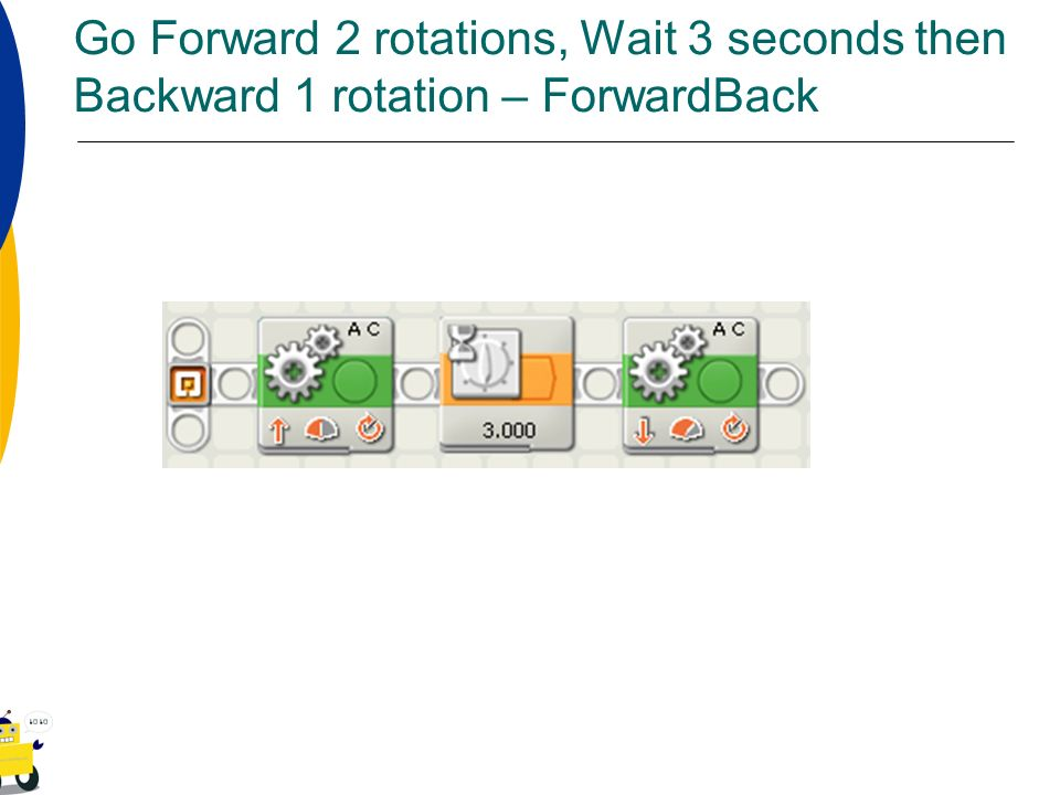 Go Forward 2 rotations, Wait 3 seconds then Backward 1 rotation – ForwardBack