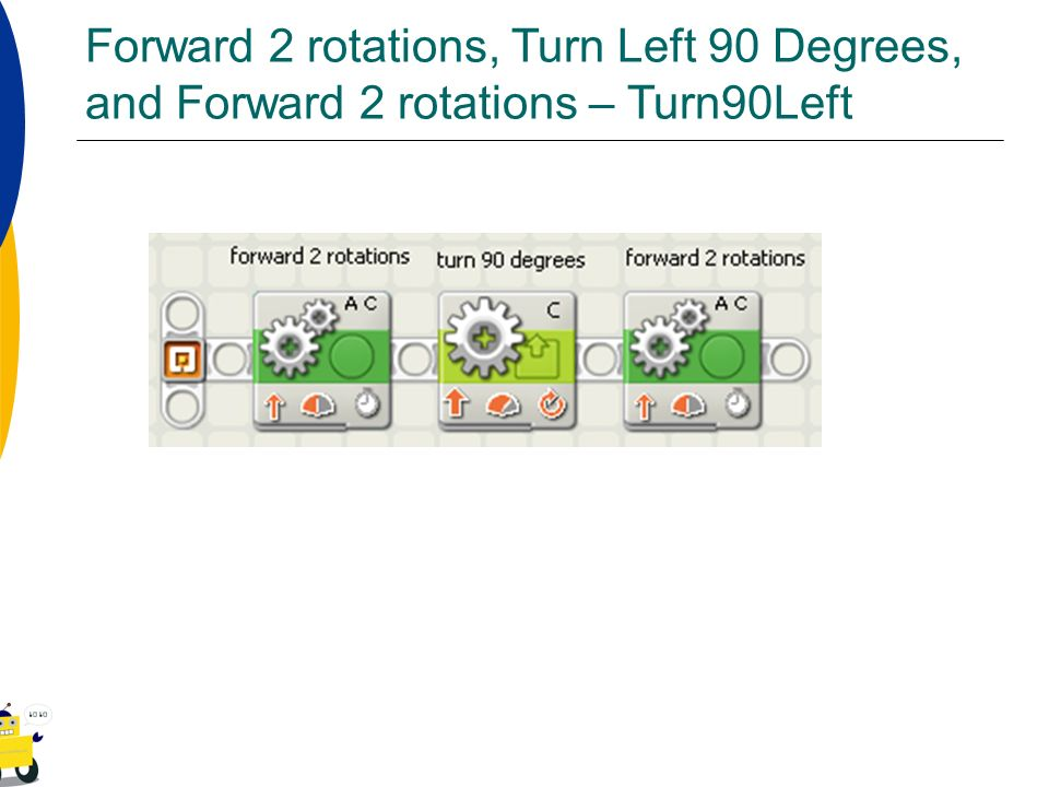 Forward 2 rotations, Turn Left 90 Degrees, and Forward 2 rotations – Turn90Left