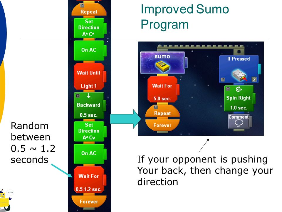 Improved Sumo Program Random between 0.5 ~ 1.2 seconds