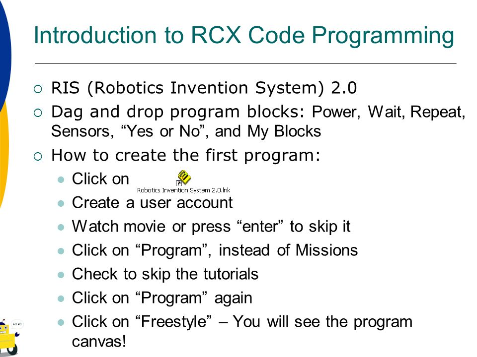 Introduction to RCX Code Programming