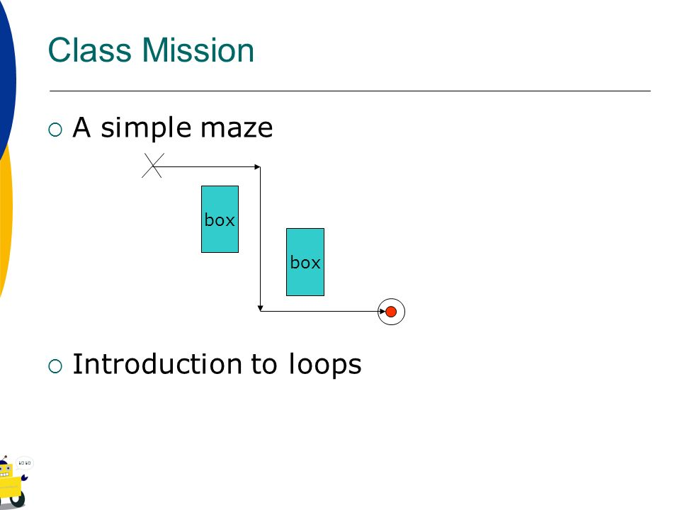 Class Mission A simple maze Introduction to loops box box