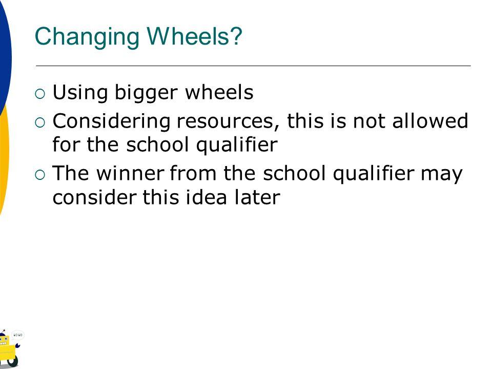 Changing Wheels Using bigger wheels