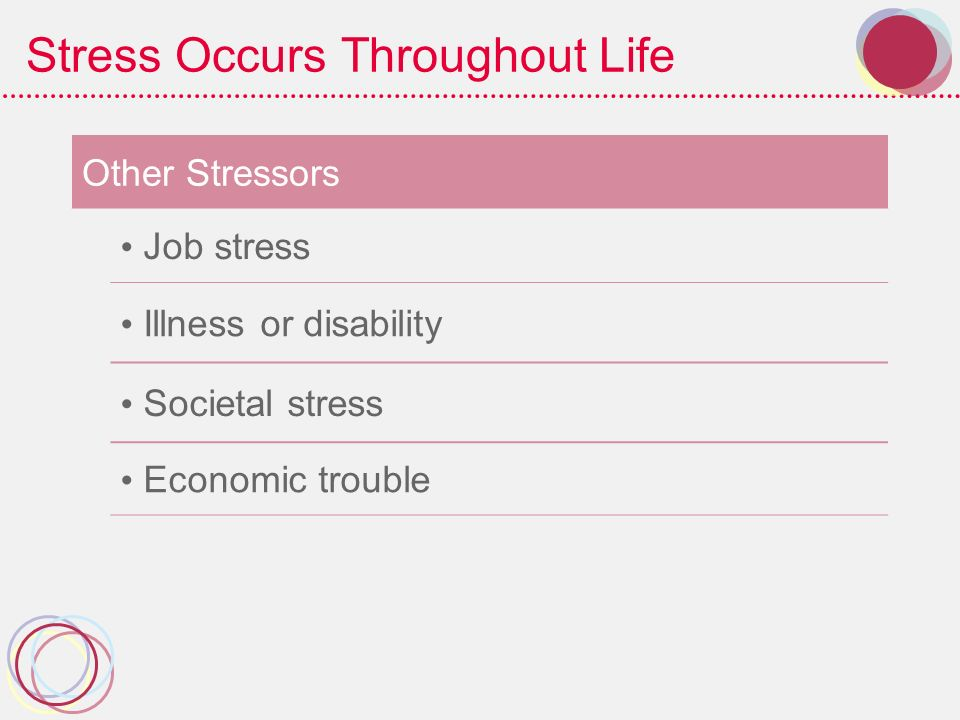 Stress Occurs Throughout Life