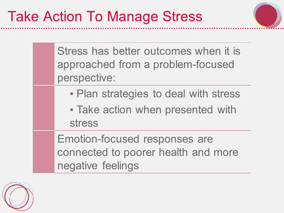 Take Action To Manage Stress