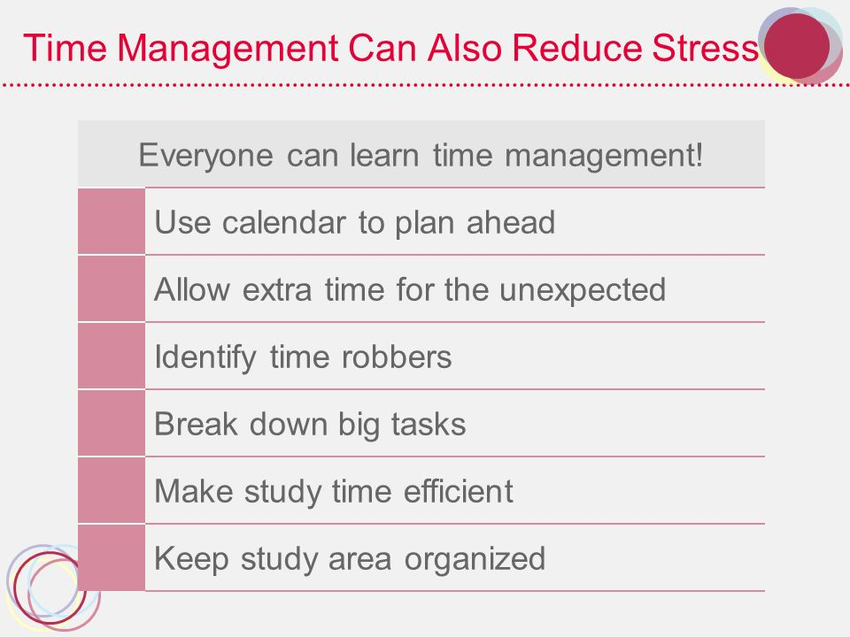 Time Management Can Also Reduce Stress