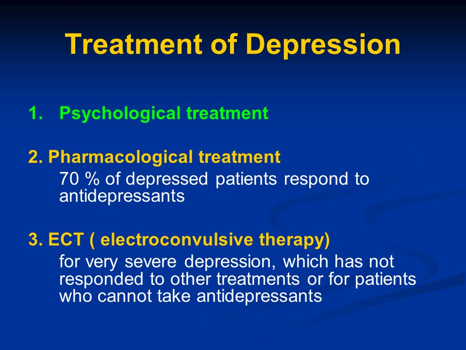 Electroconvulsive therapy for severe depression evaluation