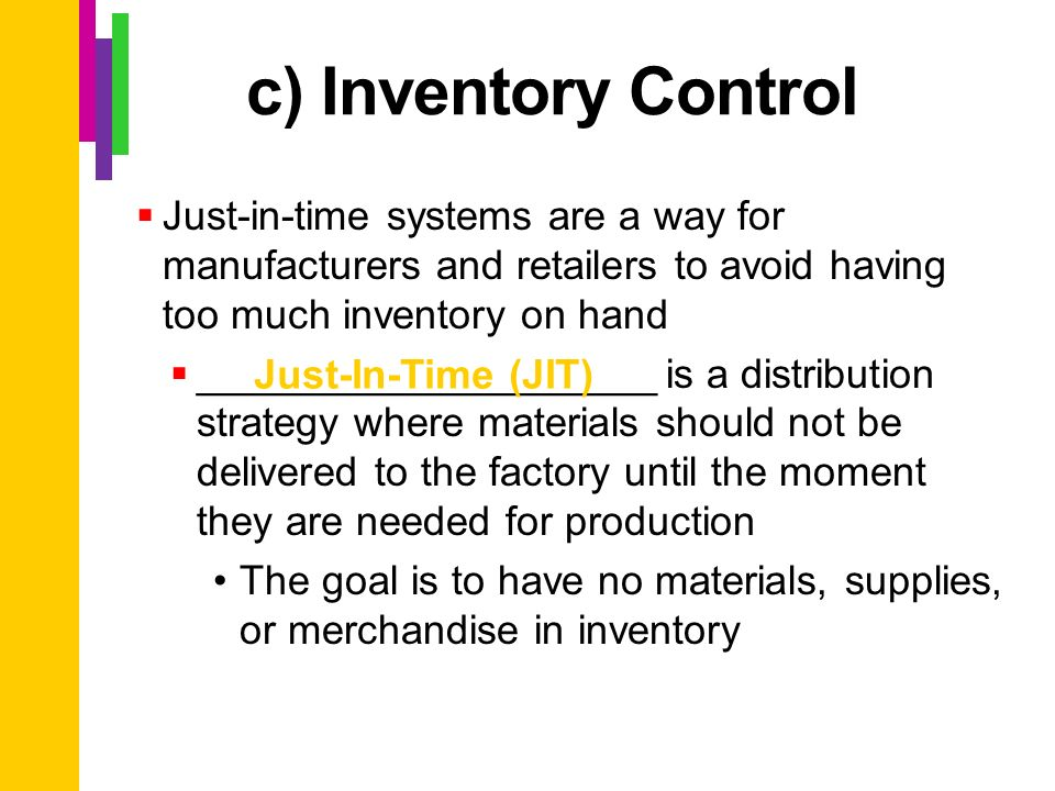 jit manufacturing and inventory control system essay
