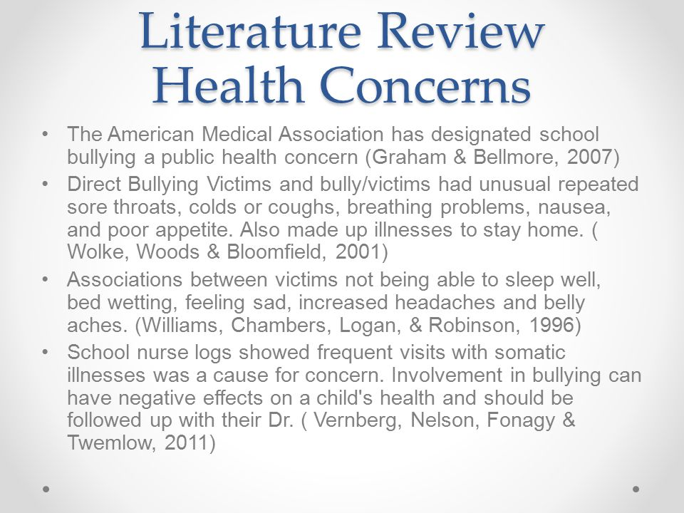 Literature Review Health Concerns
