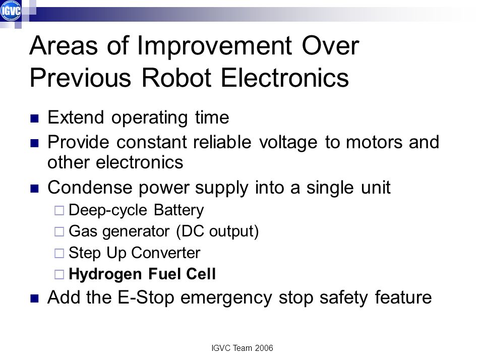 Areas of Improvement Over Previous Robot Electronics