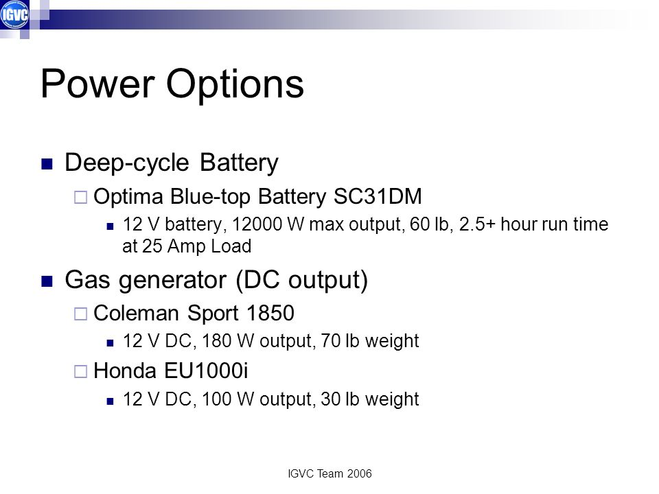 Power Options Deep-cycle Battery Gas generator (DC output)