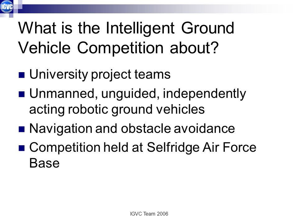 What is the Intelligent Ground Vehicle Competition about
