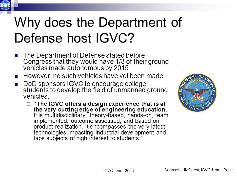 Why does the Department of Defense host IGVC