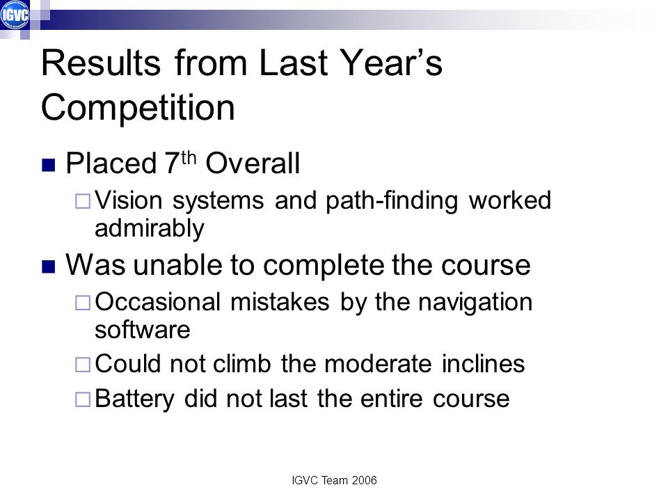 Results from Last Year's Competition