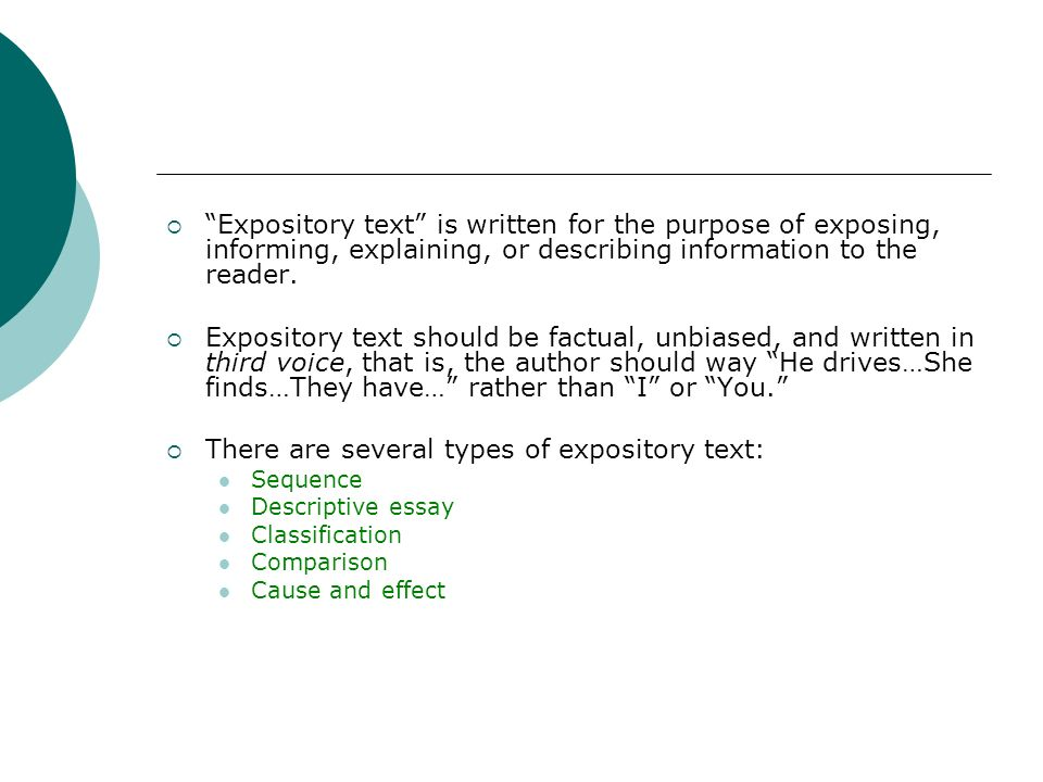 There are several types of expository text: