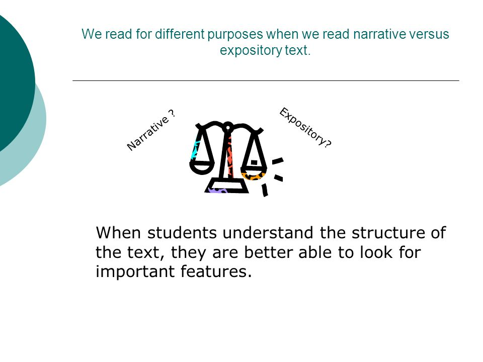 We read for different purposes when we read narrative versus expository text.