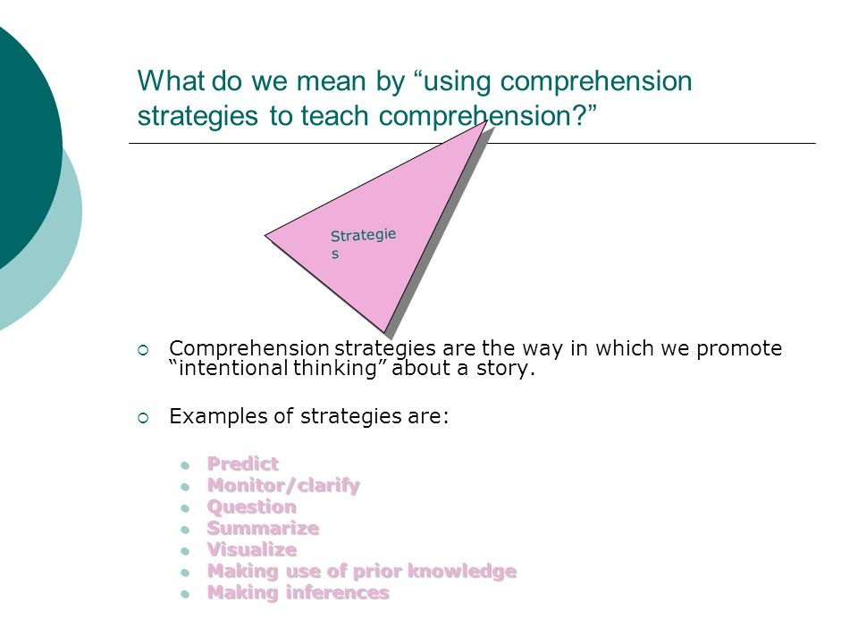What do we mean by using comprehension strategies to teach comprehension