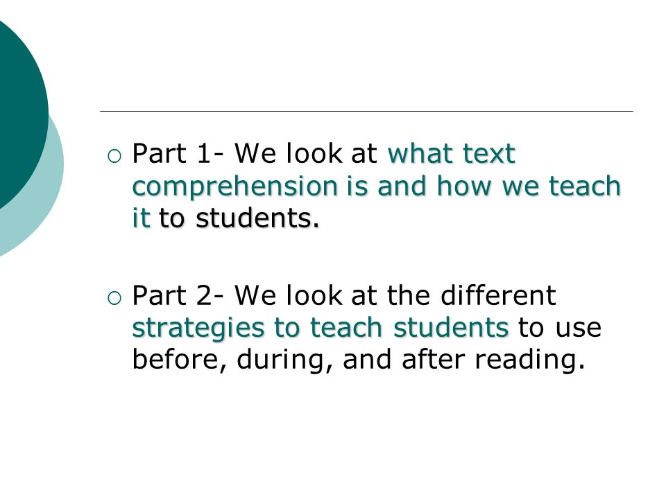 Part 1- We look at what text comprehension is and how we teach it to students.