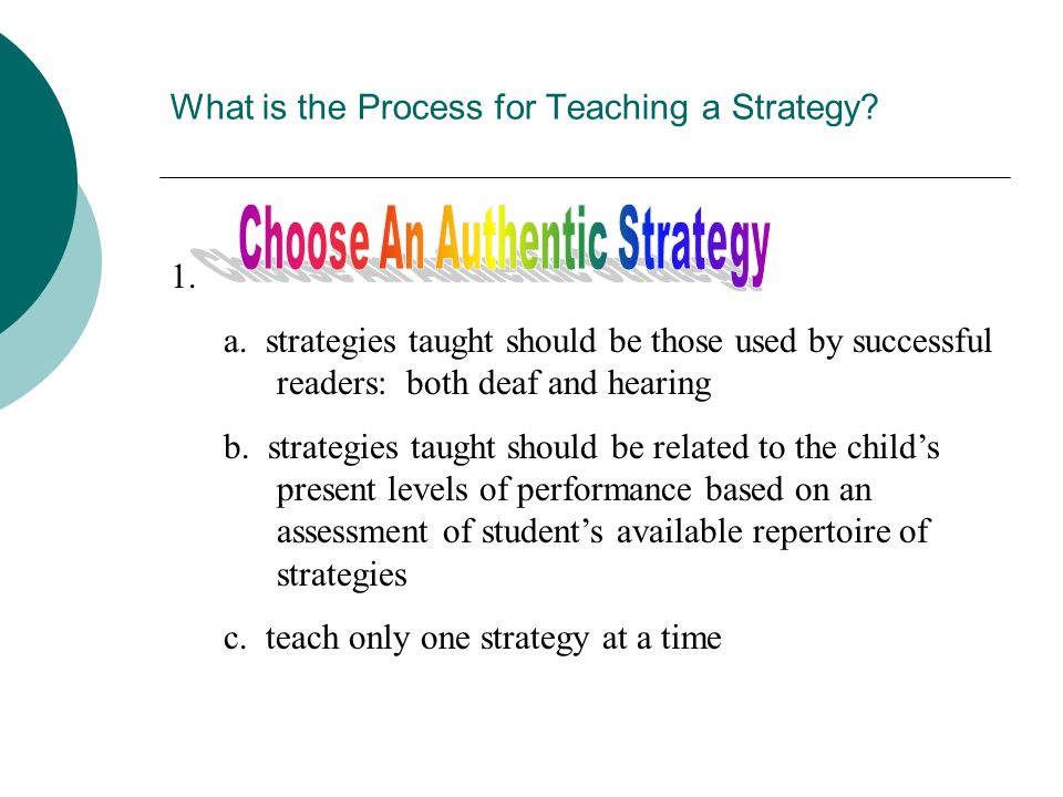 What is the Process for Teaching a Strategy