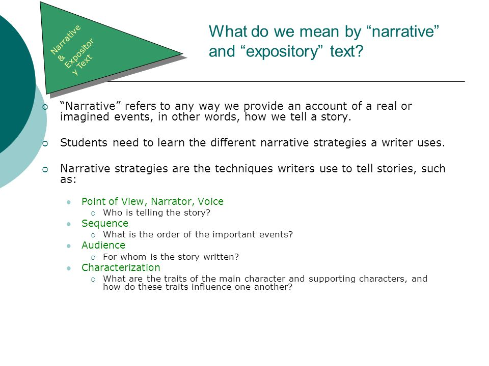 What do we mean by narrative and expository text