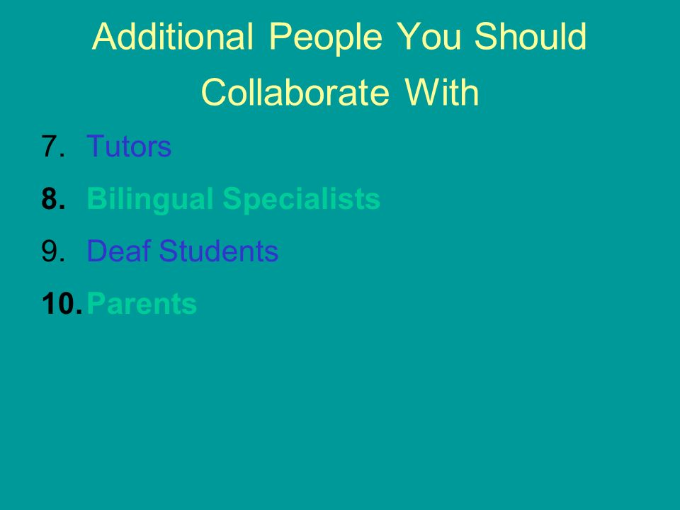Additional People You Should Collaborate With