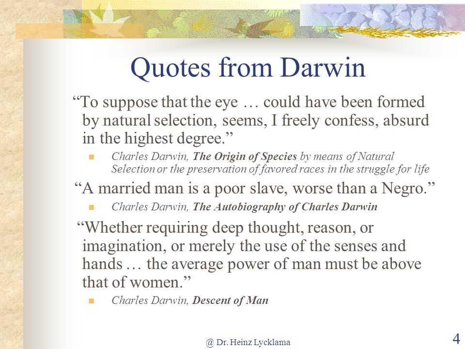 Quotes from Darwin To suppose that the eye … could have been formed by natural selection, seems, I freely confess, absurd in the highest degree.