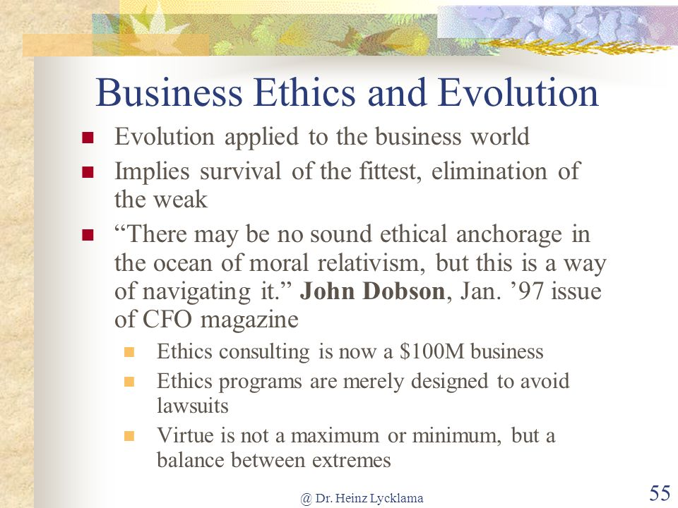 Business Ethics and Evolution