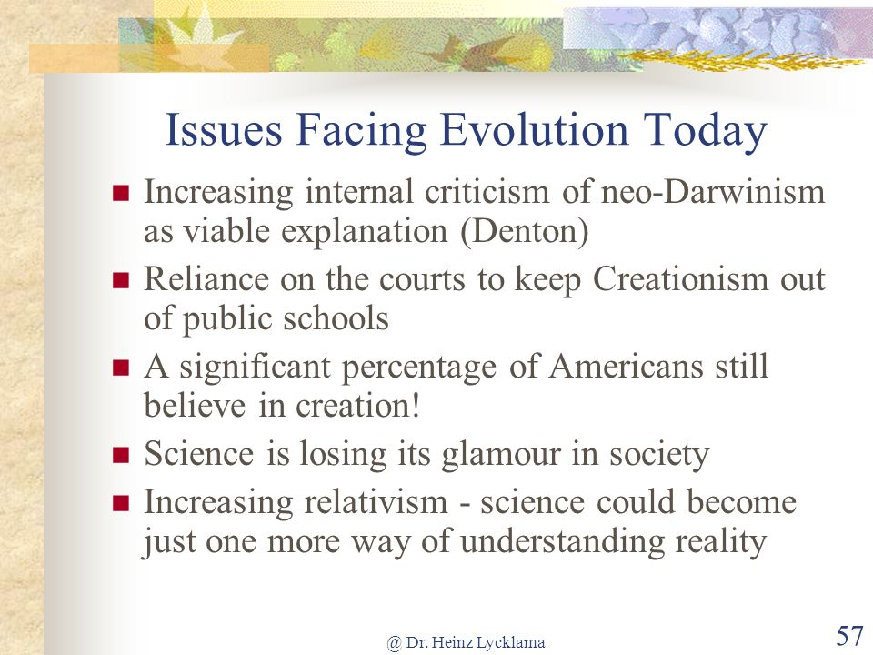 Issues Facing Evolution Today