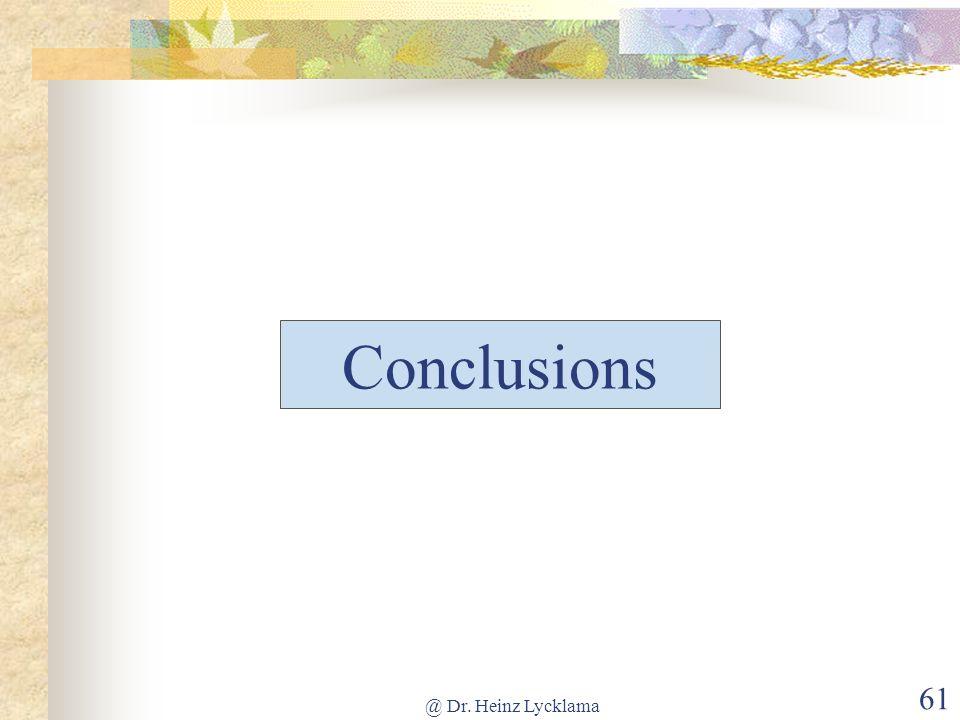 Conclusions @ Dr. Heinz Lycklama