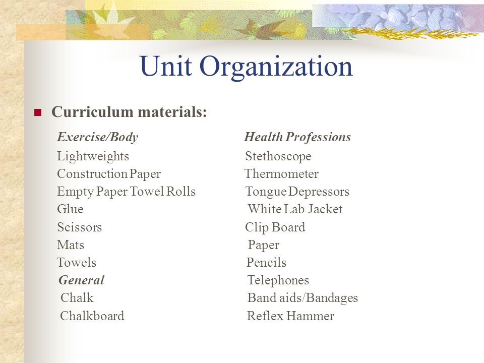 Unit Organization Exercise/Body Health Professions