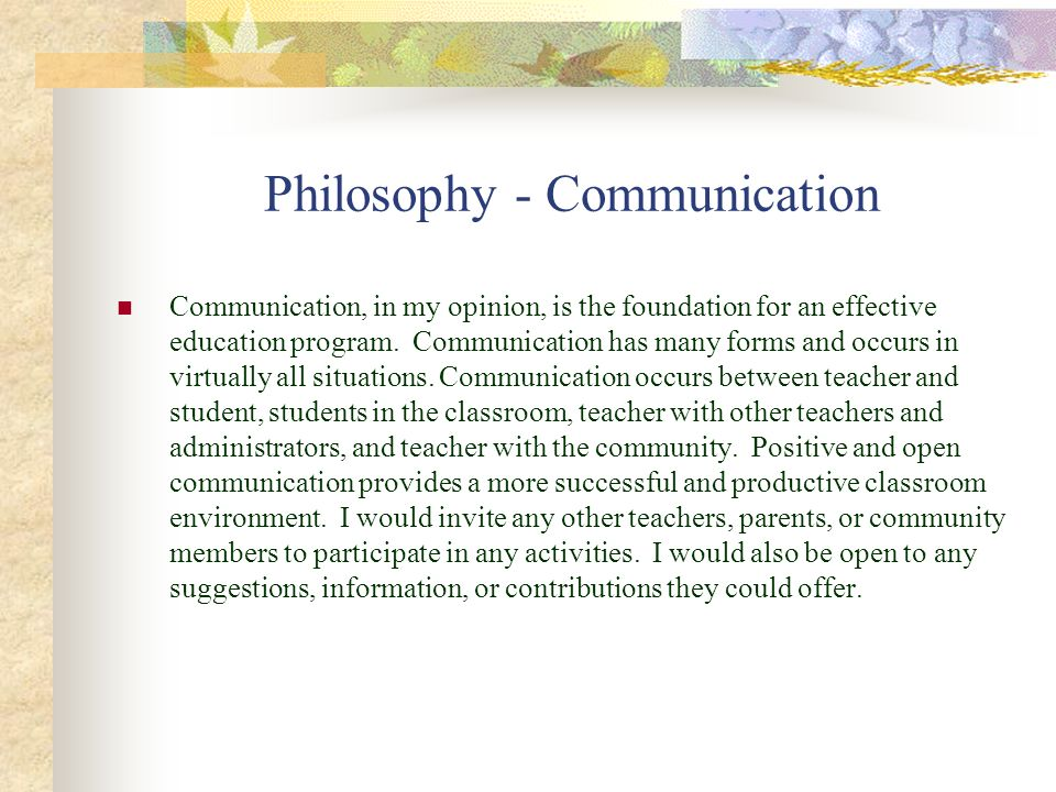 Philosophy - Communication