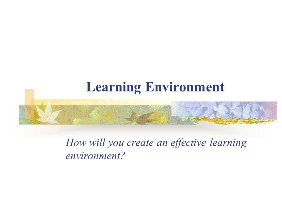 How will you create an effective learning environment