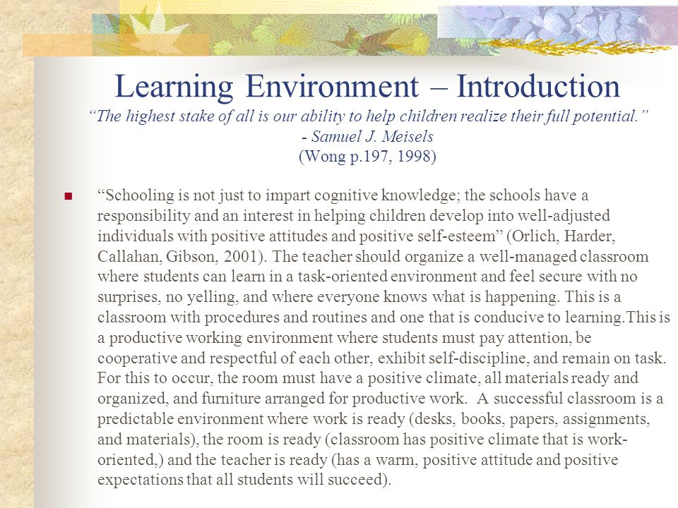 Learning Environment – Introduction The highest stake of all is our ability to help children realize their full potential. - Samuel J. Meisels (Wong p.197, 1998)