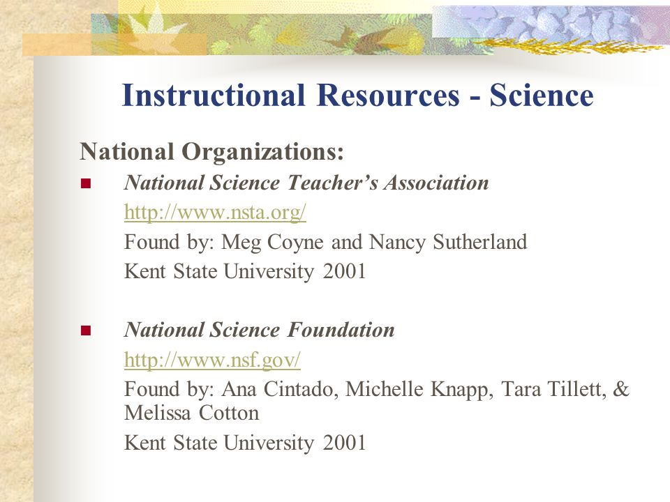 Instructional Resources - Science