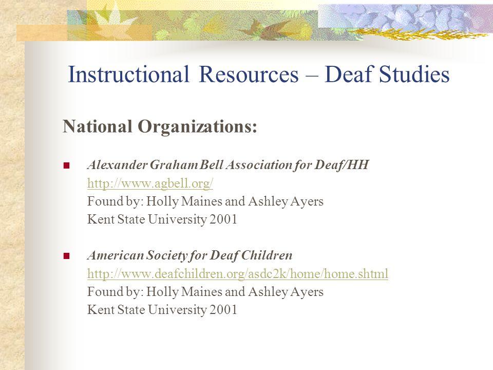 Instructional Resources – Deaf Studies