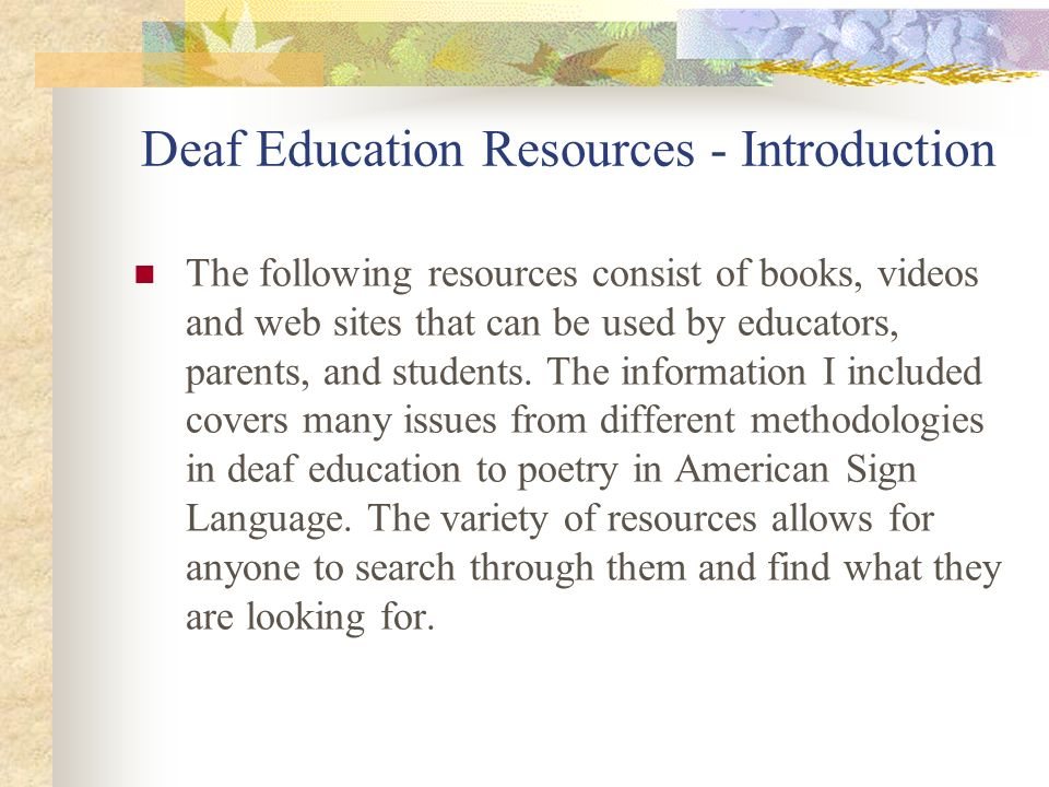 Deaf Education Resources - Introduction