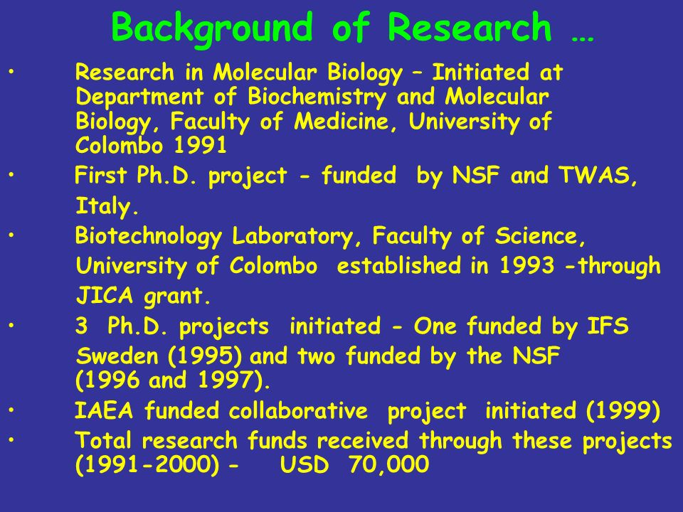 Background of Research …