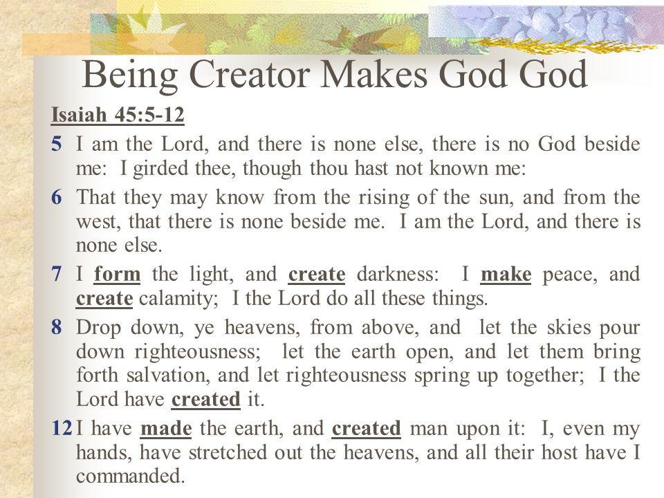 Being Creator Makes God God