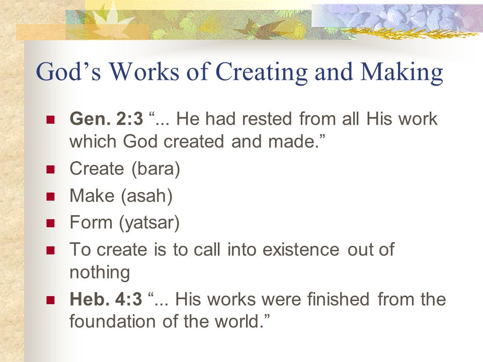 God's Works of Creating and Making