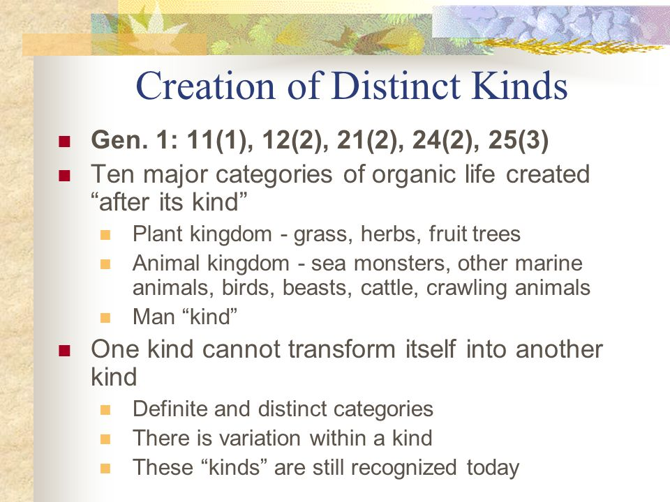Creation of Distinct Kinds
