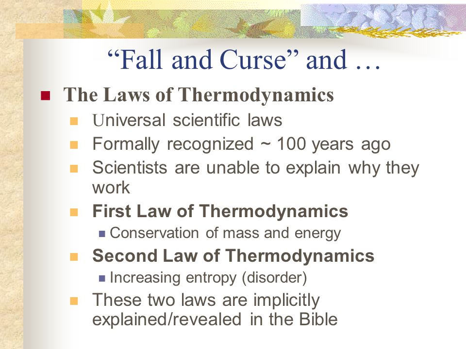 Fall and Curse and … The Laws of Thermodynamics