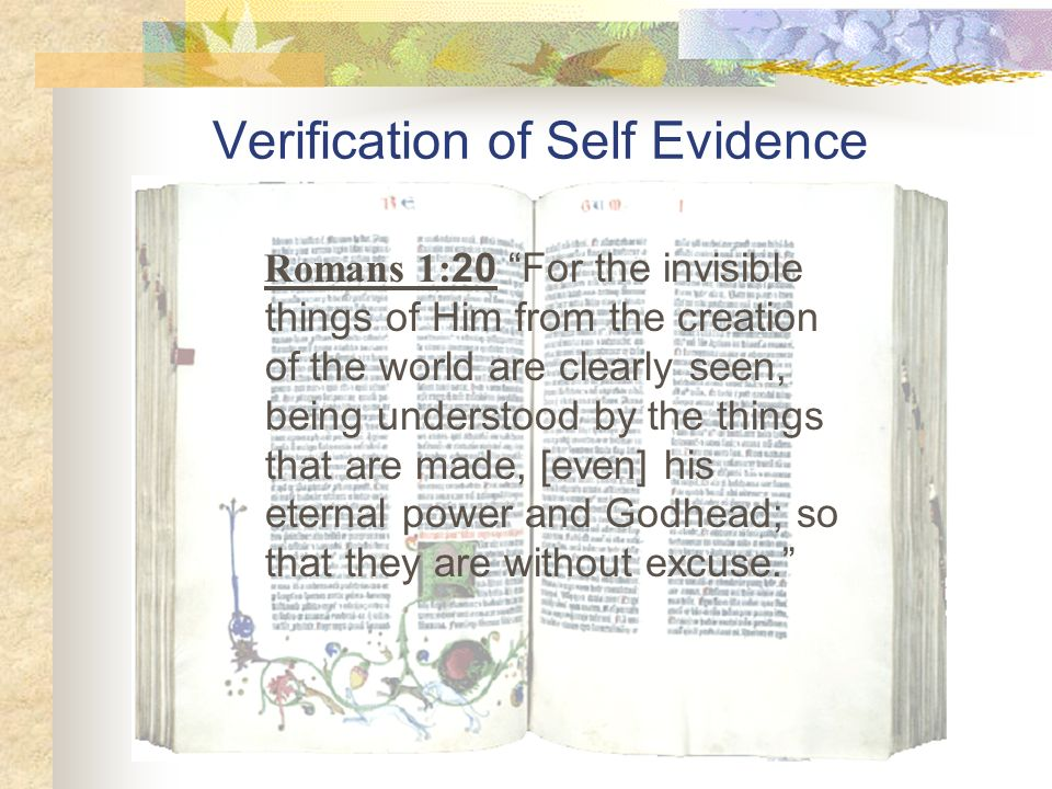 Verification of Self Evidence