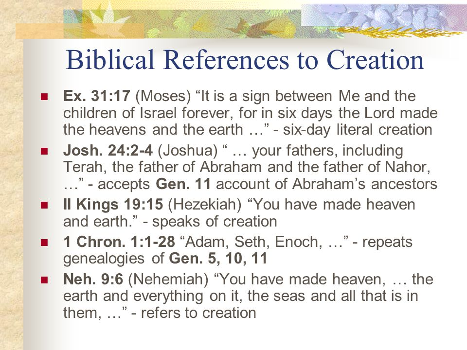 Biblical References to Creation