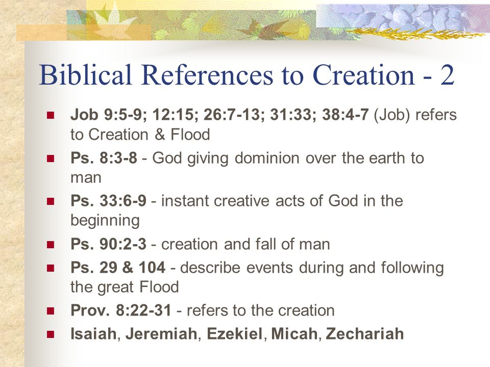 Biblical References to Creation - 2