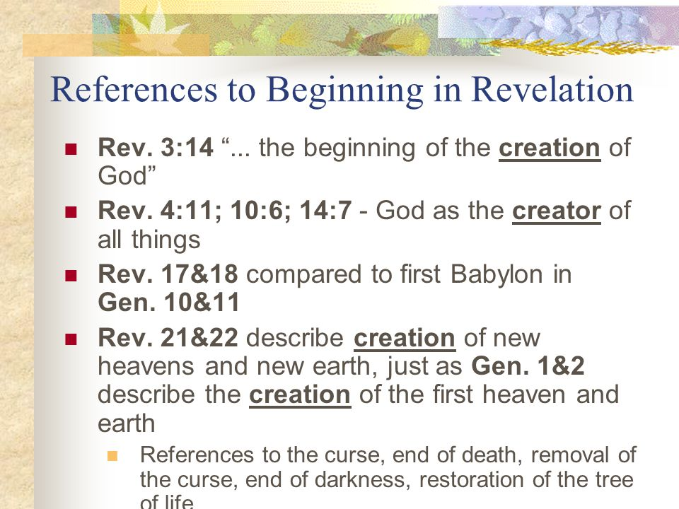 References to Beginning in Revelation