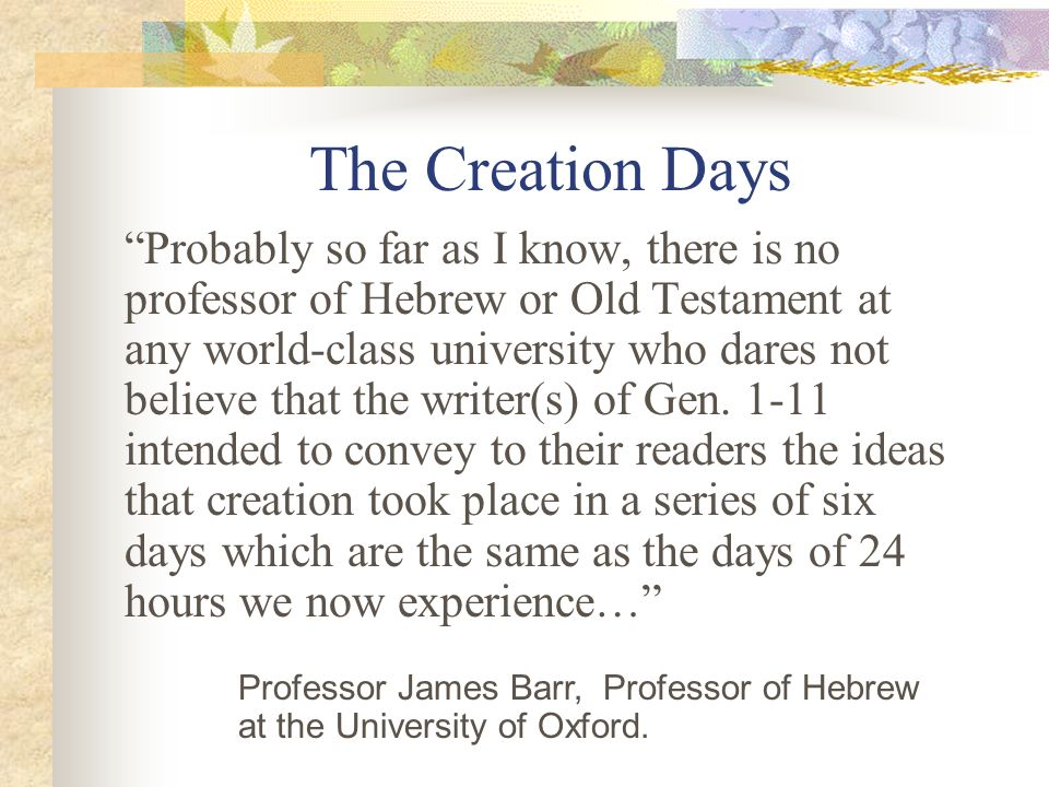 The Creation Days