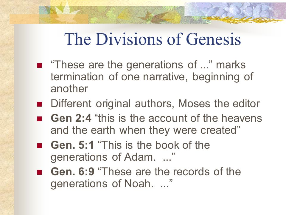 The Divisions of Genesis