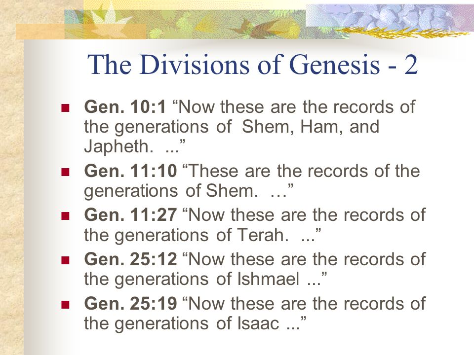 The Divisions of Genesis - 2