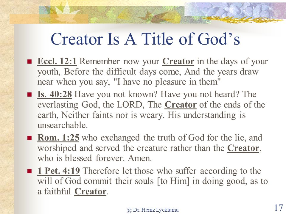 Creator Is A Title of God's