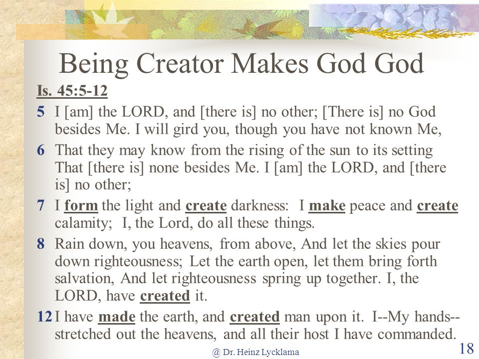 Being Creator Makes God God